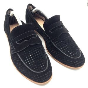Bass laser cut perforated black suede Ellie loafer